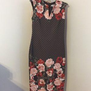 New York & Co, dress woman's 6 polka dot floral